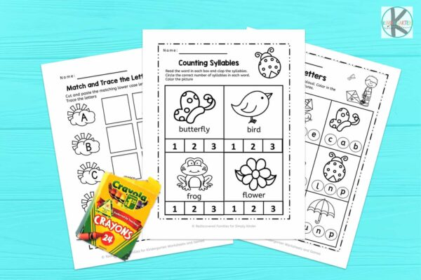 Spring Kindergarten Literacy Worksheets freebie
