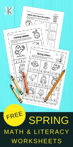 Kindergarten Worksheets to practice math and literacy in the spring - FREEBIE