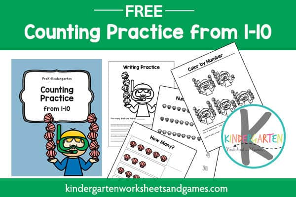 Practice tracing numbers 1-10 with these summer worksheets for preschool and kindergarten age kids