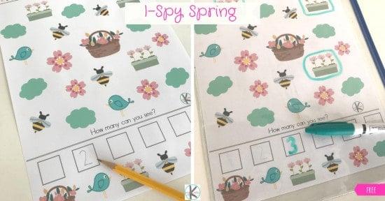 Fun preschool counting activity for spring