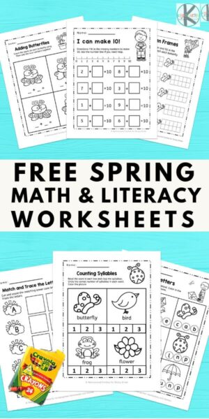 FREE Spring Worksheets for Kindergarten age kids to have fun while practicing math and literacy. These are NO PREP #kindergaten #kindergartenworksheets #springprintables