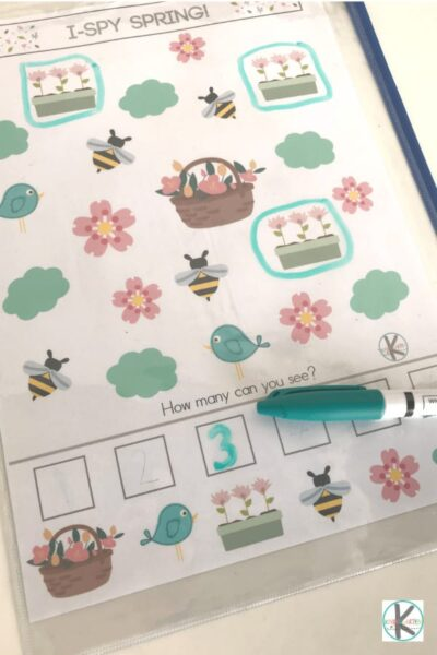 Printable Visual Discrimination activity for spring