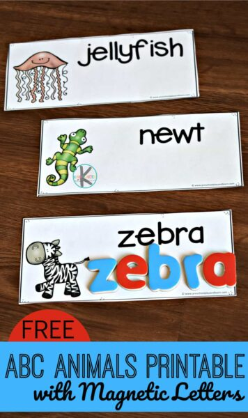 FREE ABC Animals Printable with Magnetic Letters - such a fun way for kids to practice spelling a to z animal names for preschoool, prek, and kindergarten age kids. #kindergarten #animals #spelling