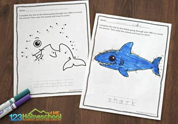 complete the dolphin, shark pictures by ABC Connect the Dots; plus trace the animal name at the bottom of the kindergarten worksheet
