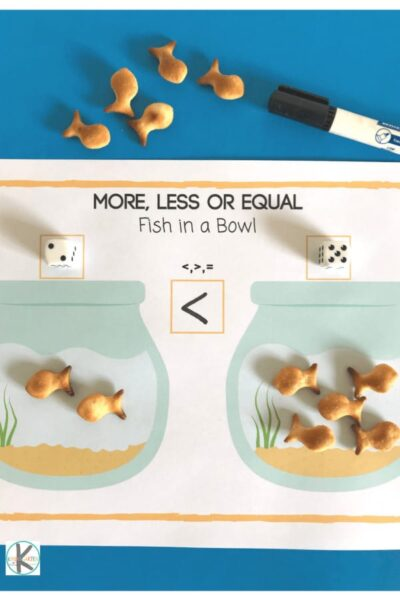 This Greater Than and Less Than Game is perfect for helping kindergarten age kids practice this math concept with fish cookies.