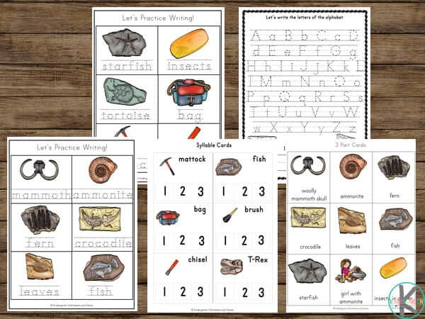 Lots of fun paleontologist printables for kindergarten to learn math, literacy, alphabet, science, words, etc.