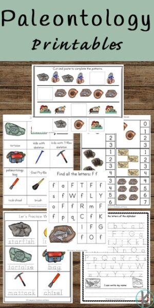 FREE Paleontologist Printables - super cute kindergarten worksheets to learn math and literacy while exploring fossils, dinosaurs, and paleontologists #kindergarten #worksheetsforkids #dinosaurs