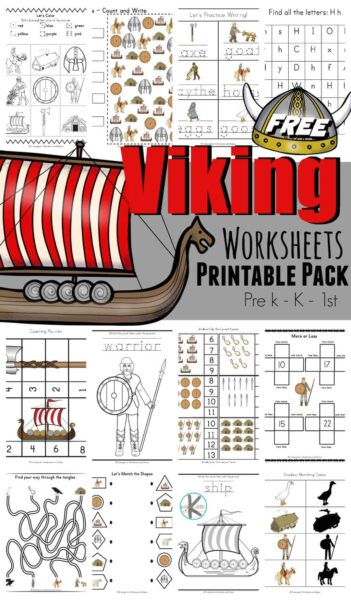 Kids will have fun practicing math and literacy skills while learning about the Viking for Kids with these super cute Viking worksheets printable pack filled with over 50 pages of fun activity pages! These themed worksheets make learning fun for preschool, pre k, kindergarten, and first grade students.
