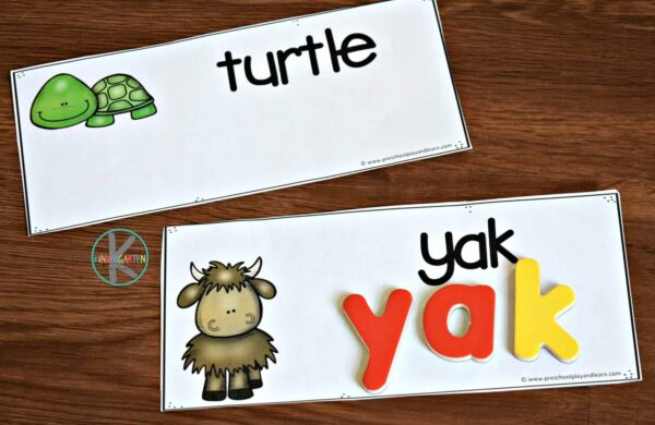 Practice spelling a to z animals with magnetic letters