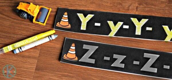 construction theme alphabet practice