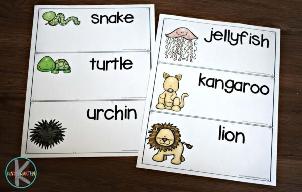 Super cute animal printable to practice kindergarten spelling