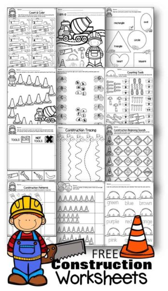 Grab these construction worksheets for math and literacy practice for preschool, prek, and kindergarten age kids.