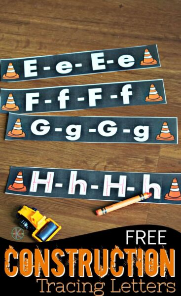 Kids will love practicing tracing letters with this fun, construction themed activity to help toddler, preschool, pre k, and kindergarten age students practice ABCs while alphabet tracing both upper and lowercase letters.