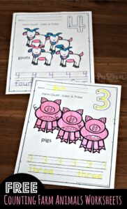 free farm worksheets for number tracing