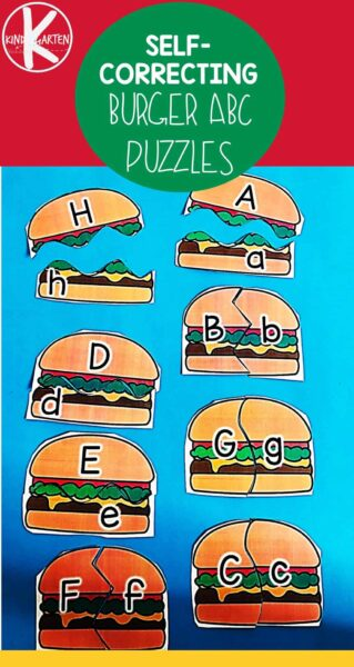 FREE Hamburger Alphabet Puzzle - these SELF CORRECTING, super cute summer abc puzzles are a fun way for preschool and kindergarten age kids to practice upper and lowercase letter matching. #alphabet #preschool #kindergarten