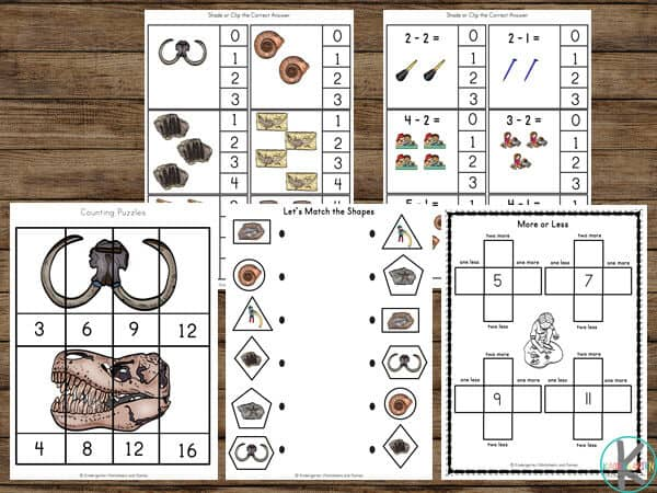 FREE Kindergarten worksheets exploring fossils, dinosaurs, and paleontologist while practicing counting, skip counting, addition, subtraction, shapes, and more.