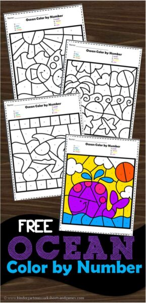 graphic about Free Printable Ocean Worksheets named Ocean Shade via Range Kindergarten Worksheets and Online games