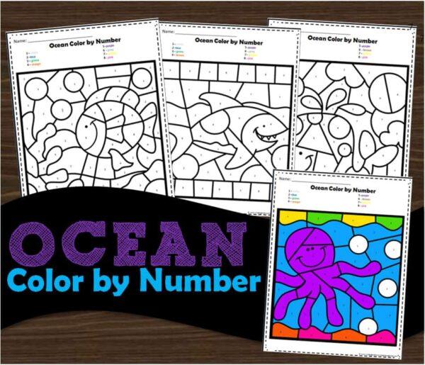 Ocean Color by Number Worksheets