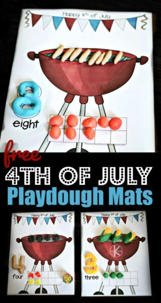 FREE 4th of July Playdough Mats - super cute summer themed grilling playdough activity to help toddler, preschool, and kindergarten age kids practice counting to 20 #kindergarten #playdoughmats #4thofjuly