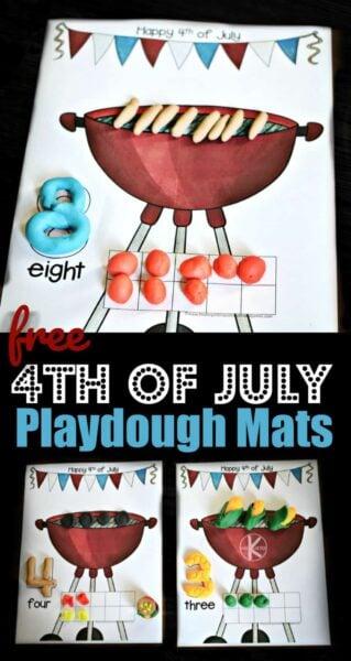 FREE 4th of July Playdough Mats - super cute summer themed grilling playdough activity to help toddler, preschool, and kindergarten age kids practice counting to 20 #kindergarten #playdoughmats #4thofjuly