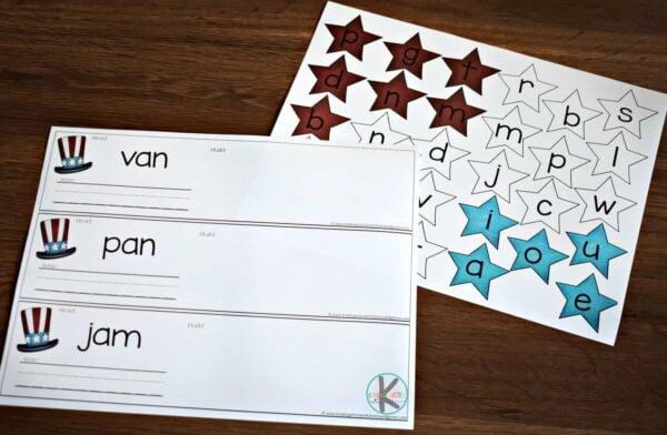 free printable 4th of july printables to help preschool and kindergarten age kids practice cvc words