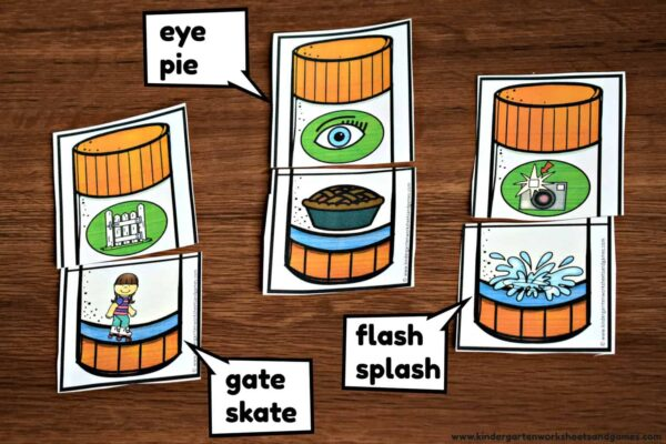 Fun rhyming game to practice common Kindergarten Rhyming Words