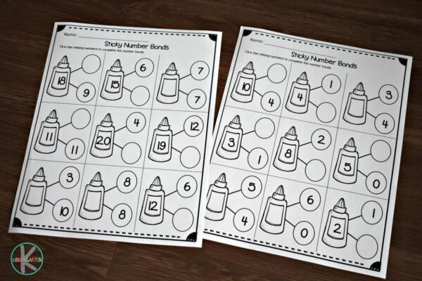 Super cute glue themed math worksheets for kindergartners to practice number bonds to 20.