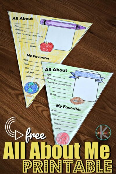 FREE All About Me Printable - super cute worksheet for kids of all ages to color, cut, fill out and hang up on the first day of school! #backtoschool #firstdayofschool #kindergarten