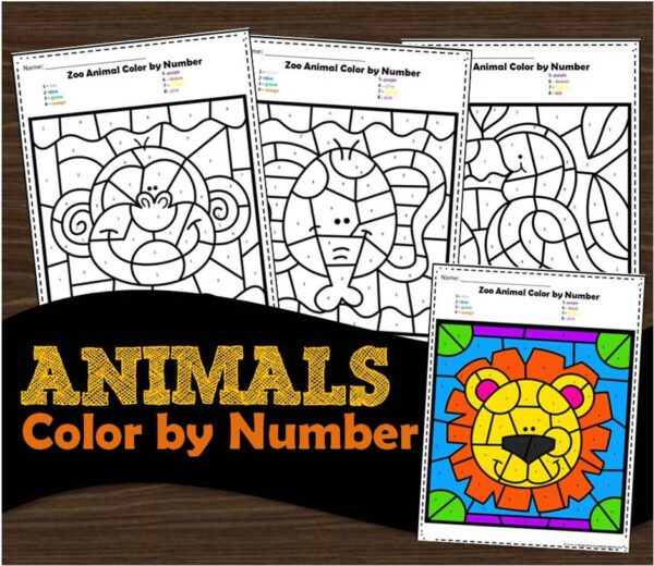 FREE Animals Color by Number Kindergarten Worksheets
