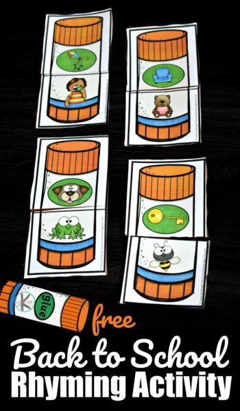 Kick of the first day of school with this super cute and fun Rhyming Activities for Kindergarten. The glue stick rhyming puzzles are a fun way to work on literacy to improve reading skills with preschool, pre k, kindergarten, and first grade students. Whether you are a parent, teacher, or homeschooler - you will love this low prep back to school activity for children!