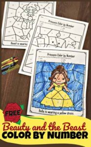beauty and the beast color by number coloring pages