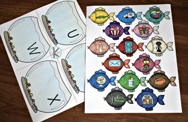 Super cute free printable fish activity  to practice beginning sounds
