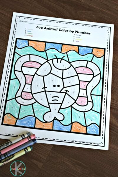 elephant color by number printable for kids