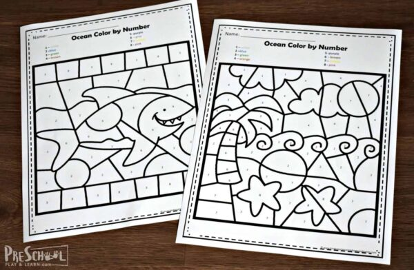 These NO PREP color by number worksheets are super cute and a fun early math activity
