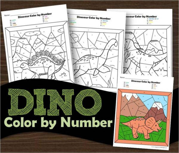 Dino Free Color by Number