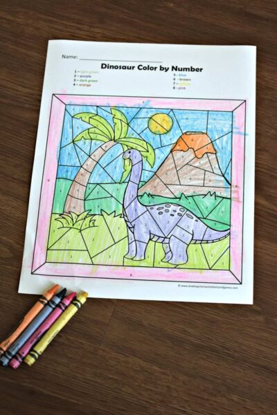 Free dinosaur printables to help kids practice number recognition while revealing a dinosaur picture in these free color by number worksheets.