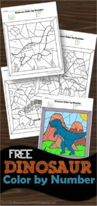 FREE Dinosaur Color by Number - super cute free printable kindergarten worksheets for practicing numbers 1-10 and numbers 11-20 with a favorite dinosaur theme activity for preschoolers and kindergartners #dinosaur #colorbynumber #kindergarten