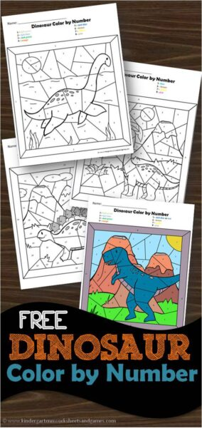Free Dinosaur Color By Number Worksheets