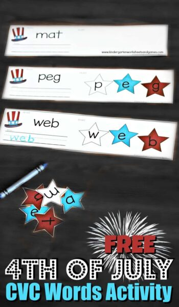 4th of July CVC Words Activity - such a fun literacy activity for preschool and kindergarten age kids for summer learning with a fourth of July theme #4thofjuly #cvcwords #kindergarten