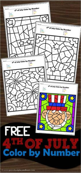 FREE 4th of July Color by Number Worksheets