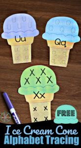 FREE Ice Cream Cone Alphabet Tracing - this is such a fun alphabet activity for preschool and kindergarten age kids to help them practice tracing letters with a fun summer theme #alphabet #preschool #kindergarten