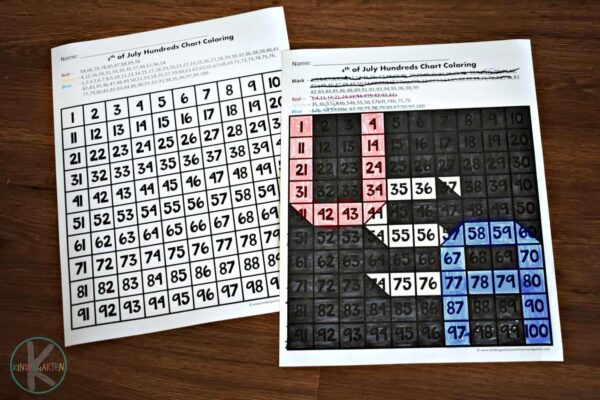 FREE Hundreds chart worksheets to help kindergartners practice number recognition with numbers 1-100 with a fourth of July theme.