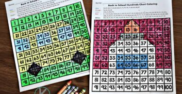 These NO PREP hundreds chart coloring are the perfect back to school printable for the first day of school with kindergarten and first grade.
