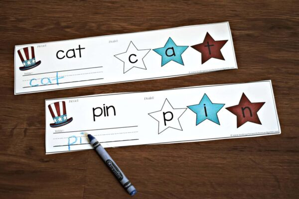 This is such a fun way for kindergartners to practice cvc words during July for Fourth of July.
