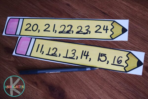 Students will fill in the missing numbers on the pencil strips in this first day of school math activity for kindergartners