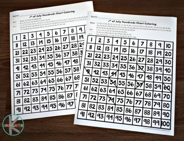 Kindergarten math worksheets to help kindergartners to practice counting to 100 while revealing patriotic  images