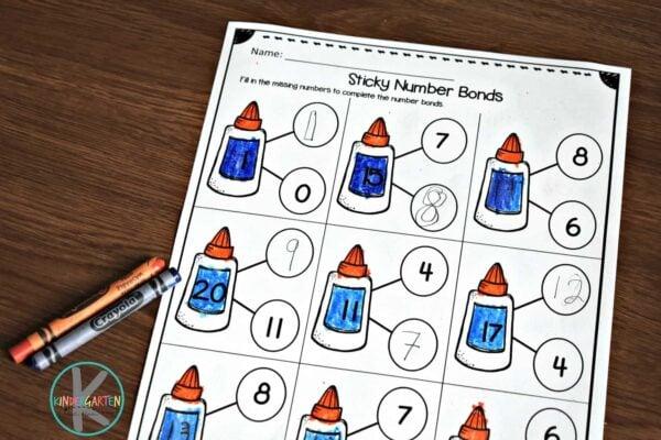 Super cute number bonds worksheets perfect for September