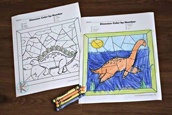 Kids will have fun practicing number recognition with these free dinosaur coloring pages for preschool and kindergarten age kids.