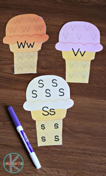 ice cream cone alphabet tracing  u2013 kindergarten worksheets and games