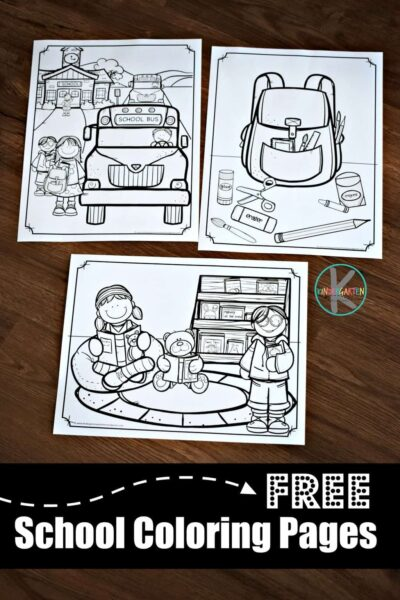 FREE Printable school coloring pages for toddler, preschool, prek, kindergarten, and first grade kids